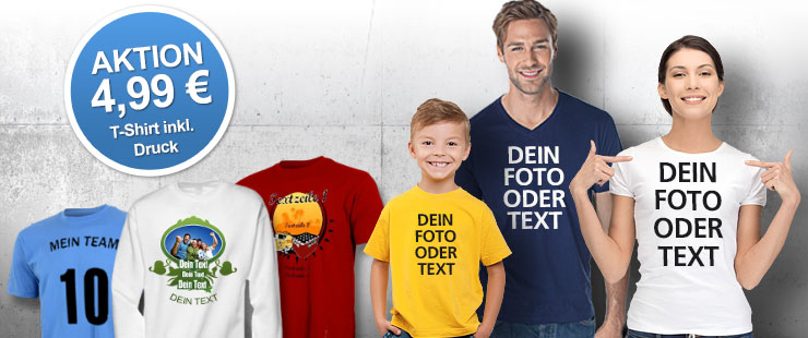 Coole T-Shirts mit Foto oder Text im PhotoFancy-Shop