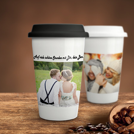 coffee to go becher mit foto bedrucken. Black Bedroom Furniture Sets. Home Design Ideas